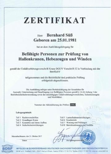 Prüfung von Hallenkranen-Hebezeugen-Winden